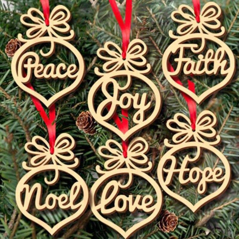 Искусственные рождественские деревянные подвески, подвесные украшения для рождественской елки, деревянные поделки «сделай сам» для домаш...