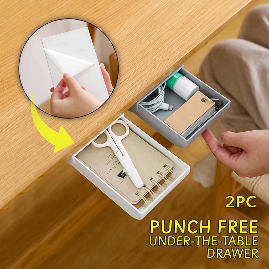 Mesa escondida en Pegar organizador de plástico para escritorio bolígrafo para notas papelería de almacenamiento caja de la caja de escritorio cajón papelería pegajoso 2PC10