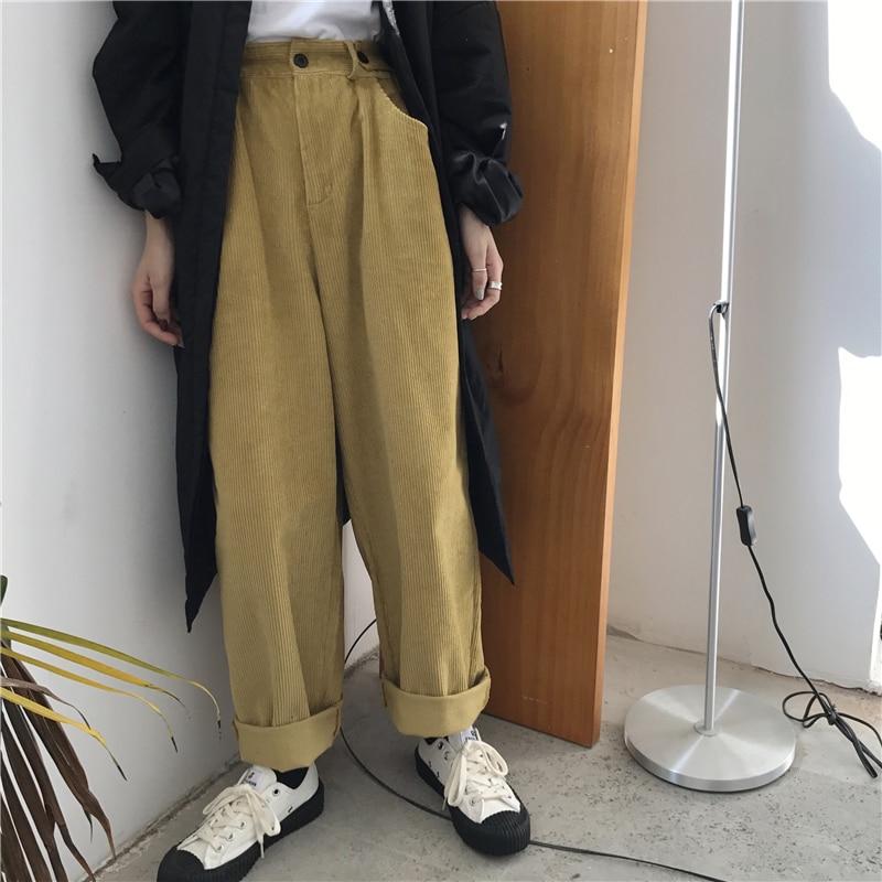 YAMDI women corduroy pant female casual korean high waist trouser wide-legged solid 2020 spring autumn loose woman trouser green