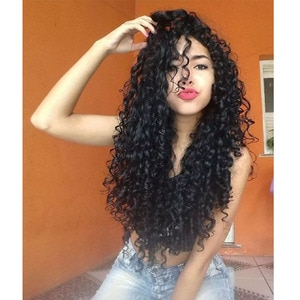 AIMEYA High Quality Synthetic Lace Front Wig Free Part Half Hand Tied Deep Black Curly Long Hair Lace Wigs for Women Natural