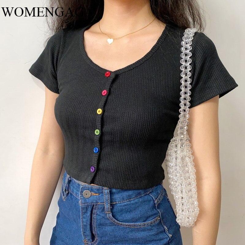 Camiseta de verano 2020 para mujer, camiseta de manga corta acanalada con detalles de botón, Top corto ajustado japonés MG6Z