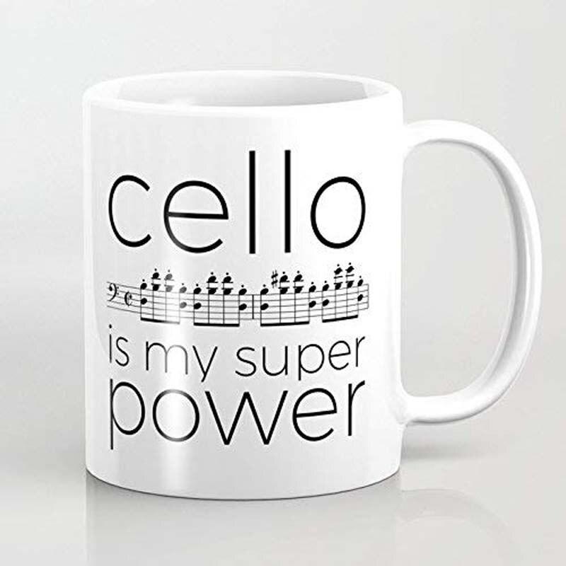 El violonchelo es mi superpotencia (blanco) taza de café de cerámica blanca-taza de vino divertida-taza de café de 11 onzas-perfecta para la boda, día de las madres