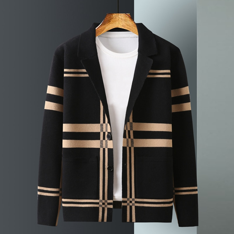 New Knitted Cardigan Men's Spring and Autumn Korean Style Trendy All-Match Cashmere Outerwear Sweater Men's High-End Coat