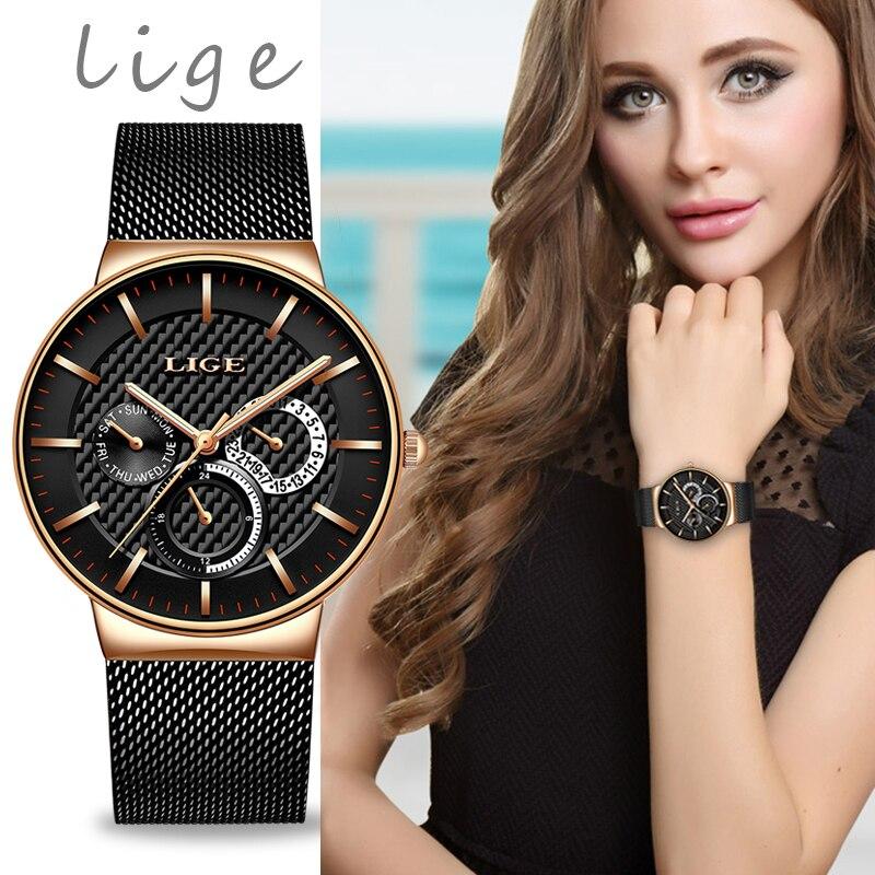 ¡Novedad de 2019! Relojes LIGE Nueva inclusión de oro rosa para mujer, relojes de cuarzo para mujer, relojes de lujo para mujer, relojes para chica, relojes femeninos + caja