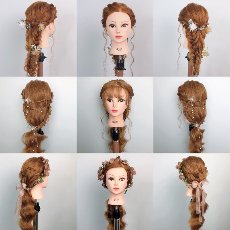 Aobocca NewMannequin Head for Hairstyles Human Hair Synthetic Mixing Professional Styling Head Hot C