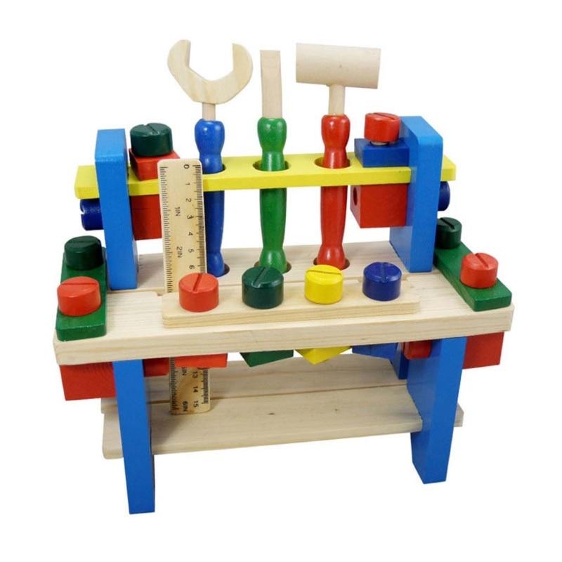 Enfants en bois outil Table Kit Simulation bricolage assemblage outil banc garçons jouer maison éclairage interactif Puzzle jouet enfants cadeau