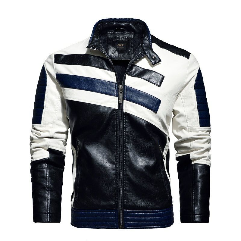 Leather men's 2021 new trend stitching leather jacket European and American men locomotive clothing  - buy with discount
