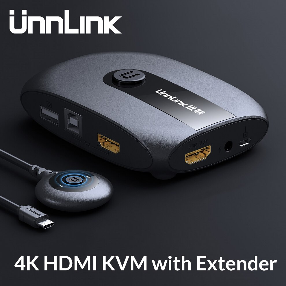 Unnlink, 2 puertos HDMI, interruptor KVM con extensor 4K 1080P USB 2,0, con Monitor, teclado de impresora, ratón para 2 ordenadores, portátiles, pc