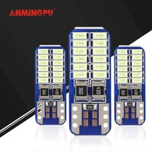 ANMINGPU 2x Signal Lampen T10 W5W Led-lampe 24 3014 Chips 12V 6000k T10 Led Lampen Lampen für autos Umrissleuchten Innen Lampe