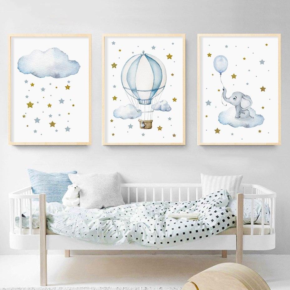 Póster de elefante con estrellas doradas en globo aerostático azul, pinturas en lienzo para niño, guardería, impresiones en arte para pared, póster para chico, imagen decorativa para dormitorio