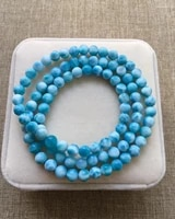 6 1mm genuine natural blue larimar gemstone 3 laps round beads bracelet water pattern larimar women men aaaaaa