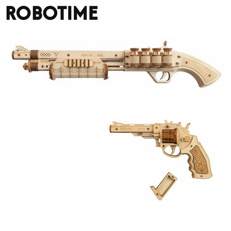 Robotime Gun Building Blocks DIY Revolver,Scatter with Rubber Band Bullet  Wooden Popular Toy Gift for Children