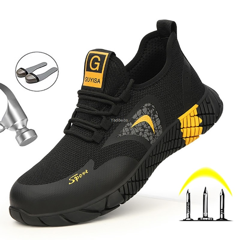 men safety shoes with boots sport work shoes for men protective steel toe cap boots work indestructible construction shoes Lightweight Men Safety Shoes Boots With Steel Toe Cap Casual Men's Boots Work Indestructible Shoes Puncture-proof Work Sneakers
