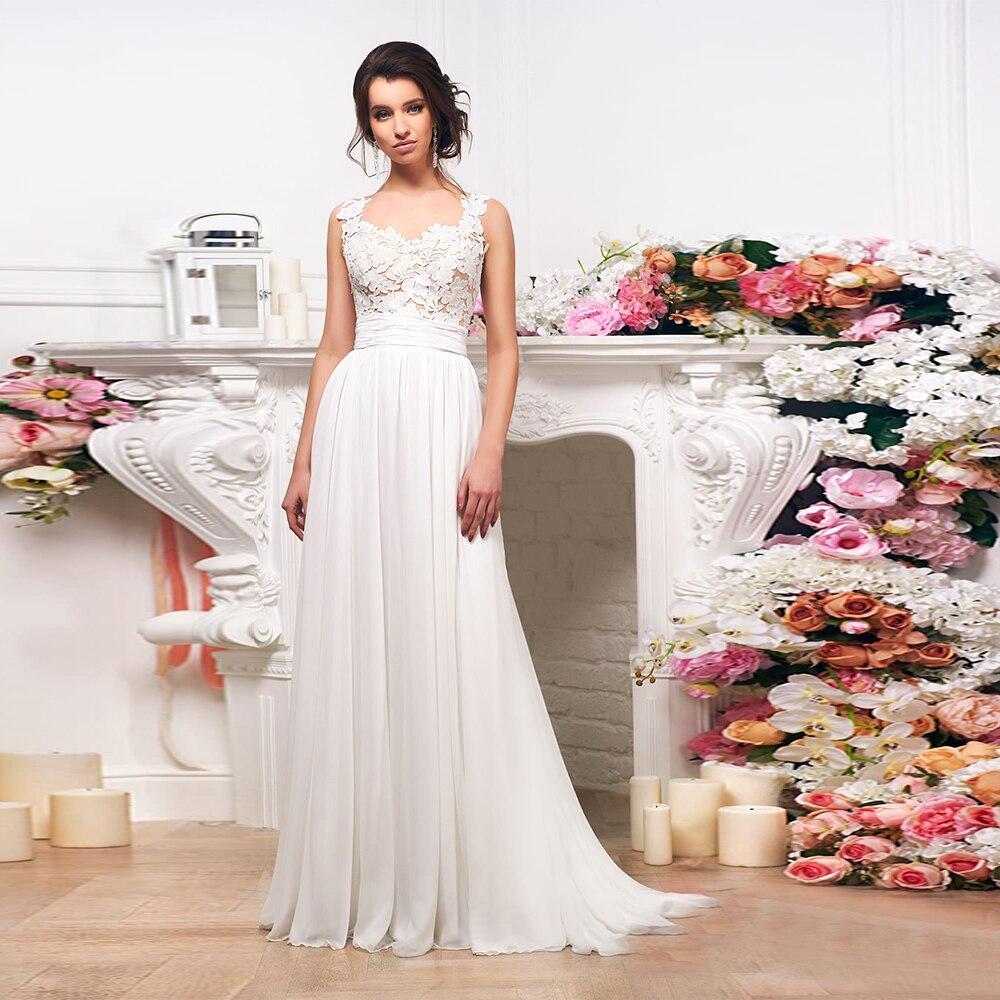 Simple Civil Wedding Dress Square Neck Floor Length Chiffon Bridal Gown Exquisite Applique Sashes Woman Formal Robe De Mariage