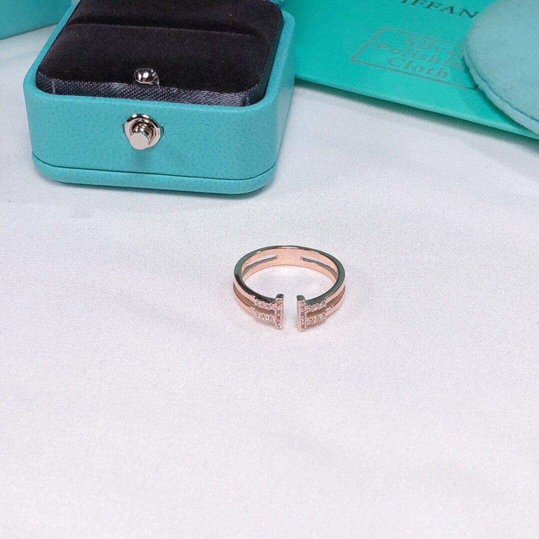 TSHOU159, letra en t de boda, anillo de circón tiff 925, anillo de plata con dos colores