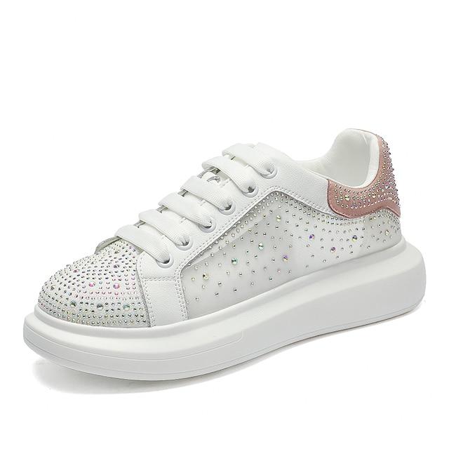 AIYUQI Sneakers Shoes Women White 2021 Summer New Breathable Rhinestone Women Shoes Casual Korean Fashion Shoes Women 2