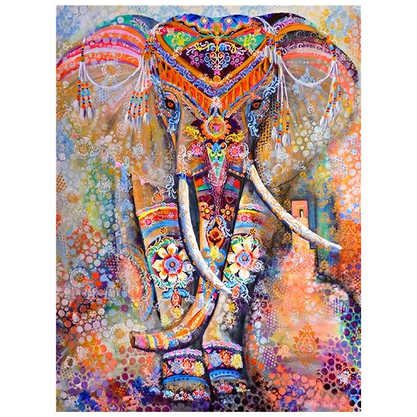 """Diamante pintura 5D DIY diamante cuadro completo cuadrado taladro """"Color elefante"""" bordado punto de cruz regalo hogar Decoración regalo"""