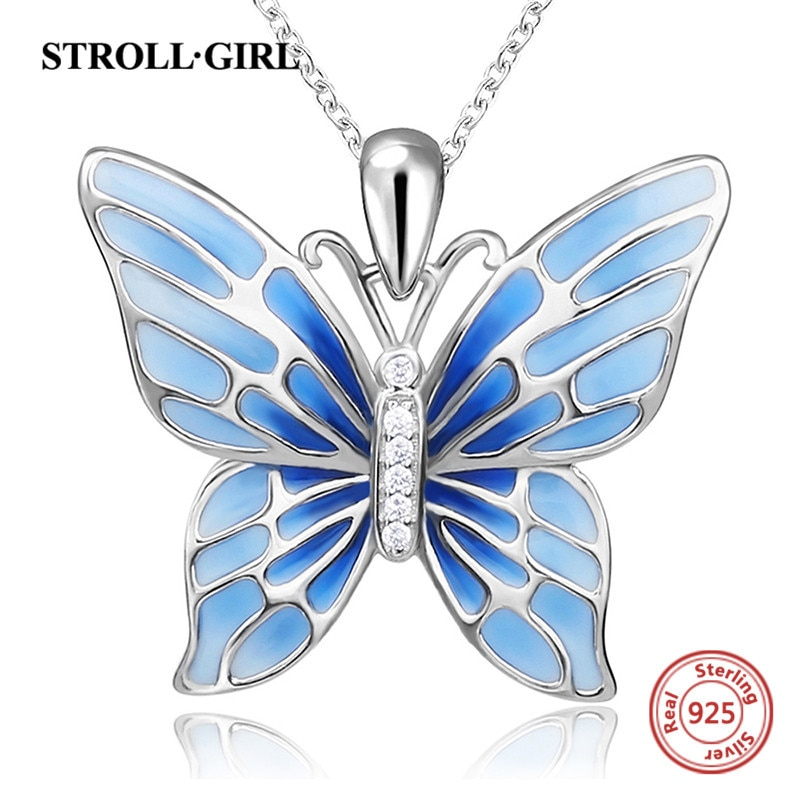 Strollgirl Sterling Silver 925 Cute Butterfly Pendant Necklaces with Blue Enamel Fashion Jewelry Free Shipping