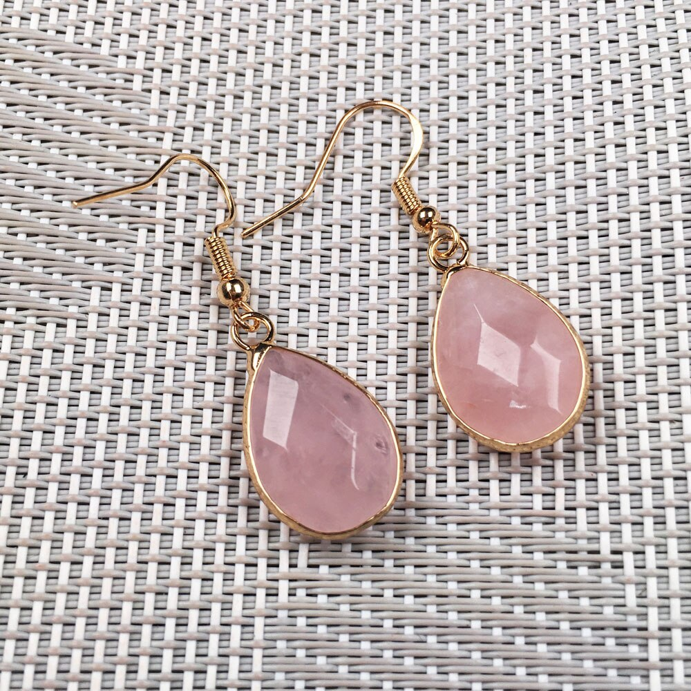 Faceted Water Drop Shape Agates Earrings Jewelry Natural Stone Rose Quartzs Dangle Earring Gifts For Women Size 14x23mm  - buy with discount