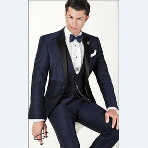 New Men's Suit Smolking Noivo Terno Slim Fit Easculino Evening Suits For Men Navy Blue Groom Tuxedos Wedding Party
