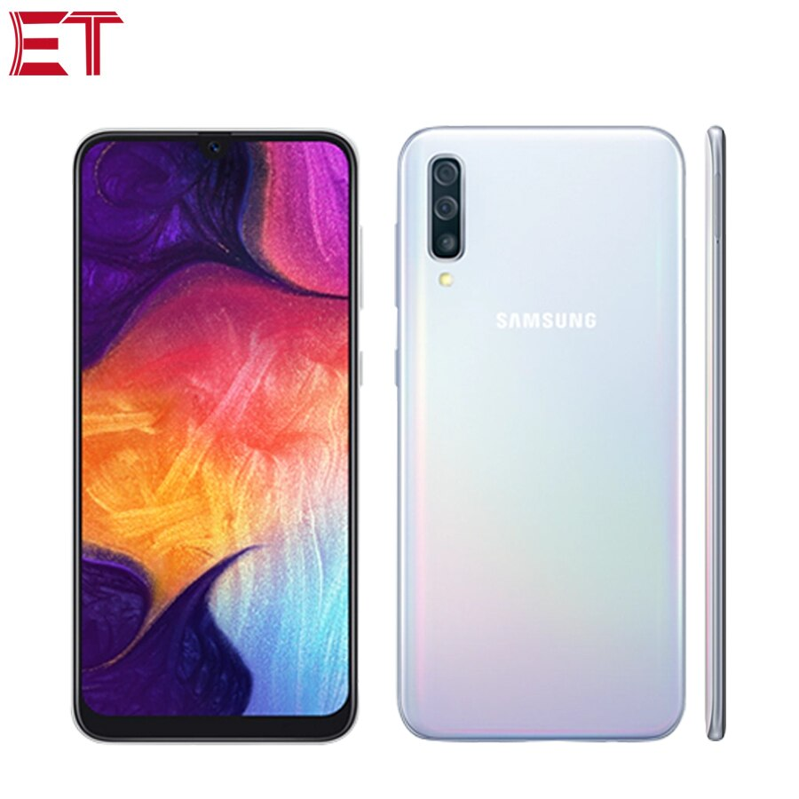 "Nuevo Samsung Galaxy A50 A505F-DS 4G teléfono móvil 6,4 ""4GB RAM 128GB ROM Exynos 9610 Octa Core tres cámara trasera Android 9,0 teléfono"