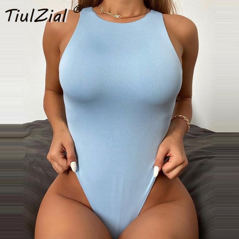 TiulZial O Neck Sleeveless Bodysuit Women Stretchy Casual Bodycon Bodysuit Summer Body Female For Woman Basic Off Shoulder Top