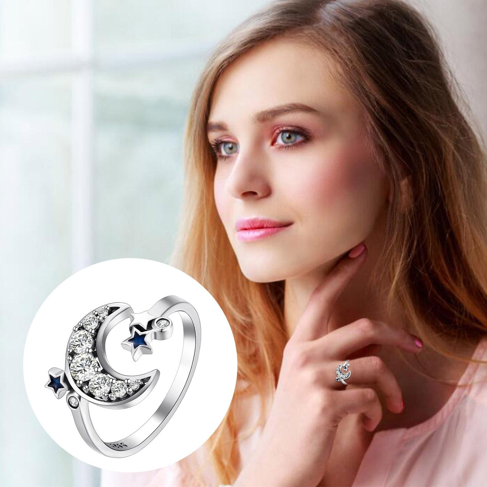 Negro anillos azul brillante anillos de circonia cúbica de plata 925 de...