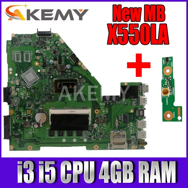 Akemy X550LA اللوحة ل Asus A550L X550LD R510L X550LC X550L X550LB كمبيوتر محمول اللوحة اللوحة i3 i5 CPU 4GB RAM