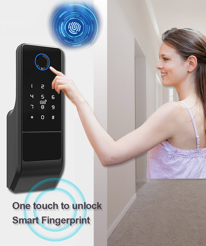 Barrel Electronic Tuya Fingerprint Padlock Bluetooth Mobile App Electric Motor Door Lock Actuator enlarge