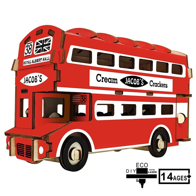Laser Cutting British double-decker bus Locomotive Toys 3D Wooden Puzzle Assembly Wood Kits Desk Decoration for Children Kids