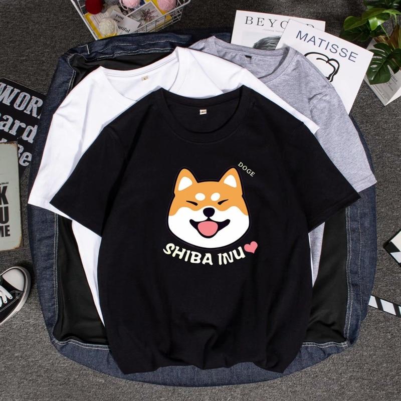 Ocio Camisas De Hombre Harajuku camiseta Kawaii lindo Shiba Inu Doge verano ropa De calle coreana hombres Chic Casual Tops camisetas