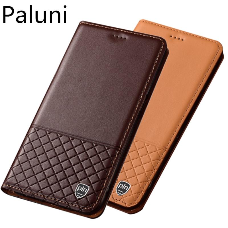 Funda de teléfono de cuero genuino con soporte magnético para Samsung Galaxy A90/Samsung Galaxy A80 con tapa cubierta