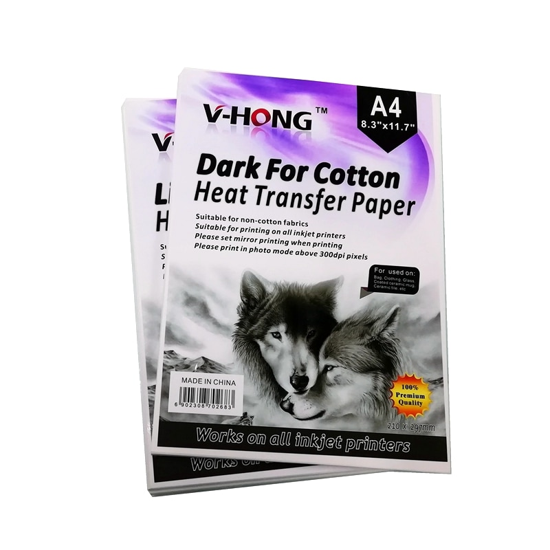 V-HONG light specification of pure cotton 100% T-shirt paper,20 sheets,8.26x11.7 dark Textiles heat transfer paper
