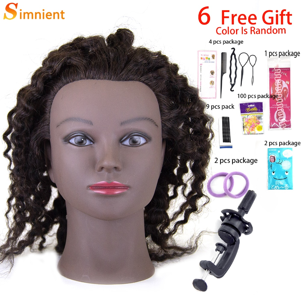 Afro Mannequin Heads For Wigs With Real 100%Human Hair of Braiding Training Hairart Barber Hairdressing Human Hair Training Head