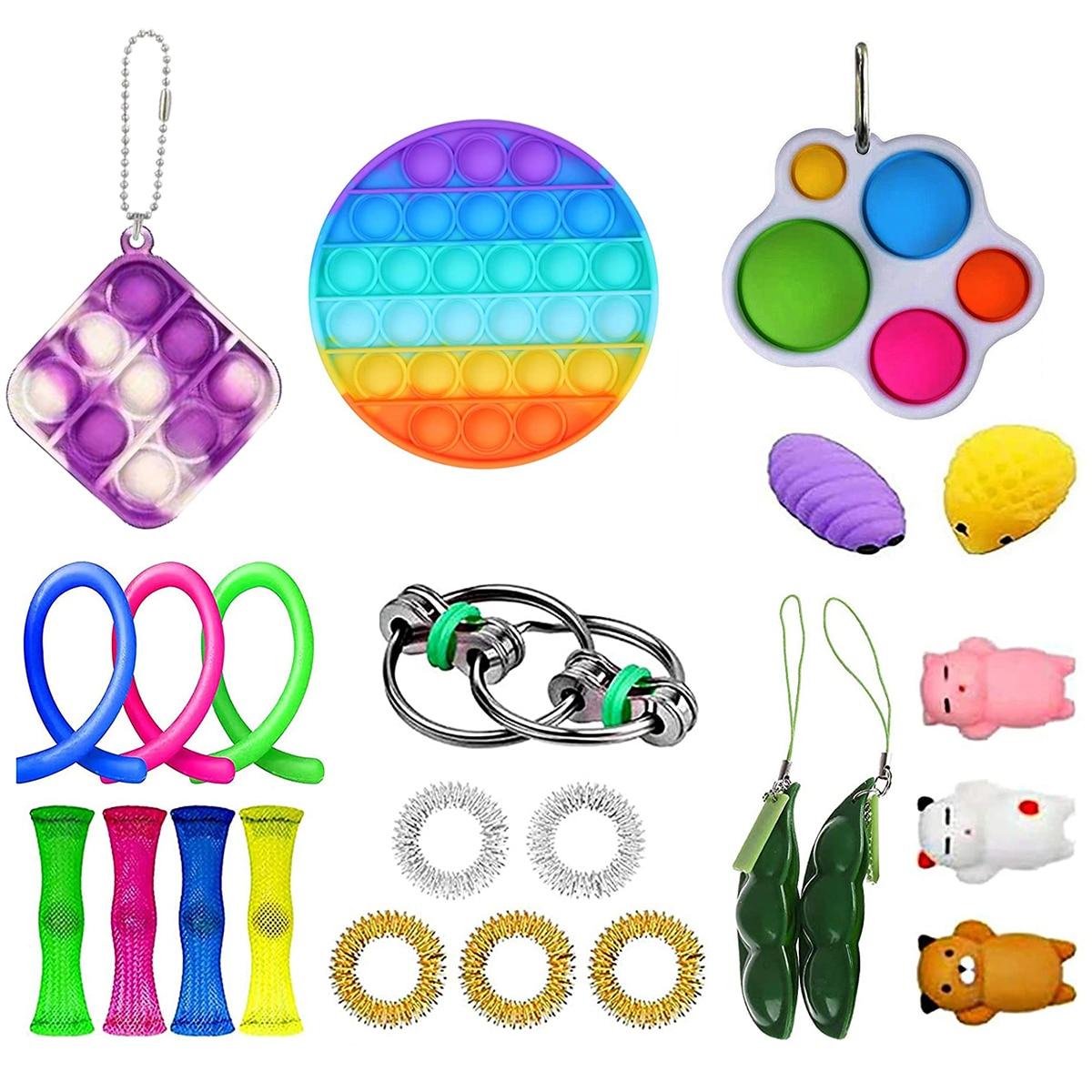23PCS Pack Fidget Sensory Toy Set Stress Relief Toys Autism Anxiety Relief Stress Push Bubble Fidget Toys For Kids Adults enlarge