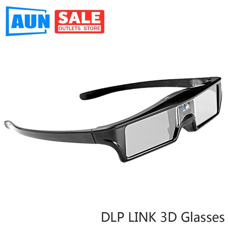 AUN DLP enlace 3D gafas LCD obturador gafas. Construido en 3,7 V batería de litio. Usar para todos los proyectores DLP, para cine en casa