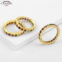 1 pièces colorées anneaux en cristal de CZ pour les femmes plein zircon cubique bagues de mariage de fiançailles couleur or délicat mince bague H40