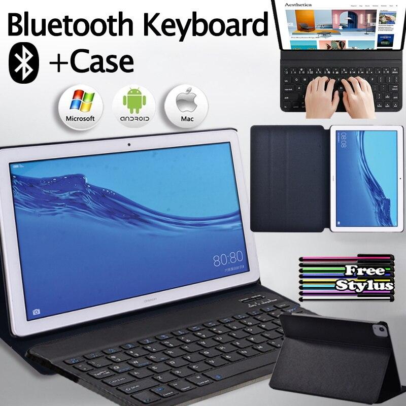 حافظة لهاتف هواوي ميديا باد T5 10 10.1 بوصة عالية الجودة قابلة للطي حافظة لهاتف هواوي + لوحة مفاتيح بلوتوث محمولة + قلم