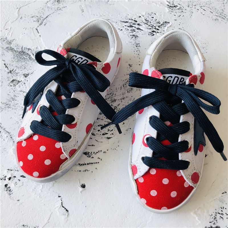 Spring and Summer New Children's Fashion First Layer Cowhide  Dirty Shoes Girls Retro Polka Dot Canvas Kids Sneakers CS186