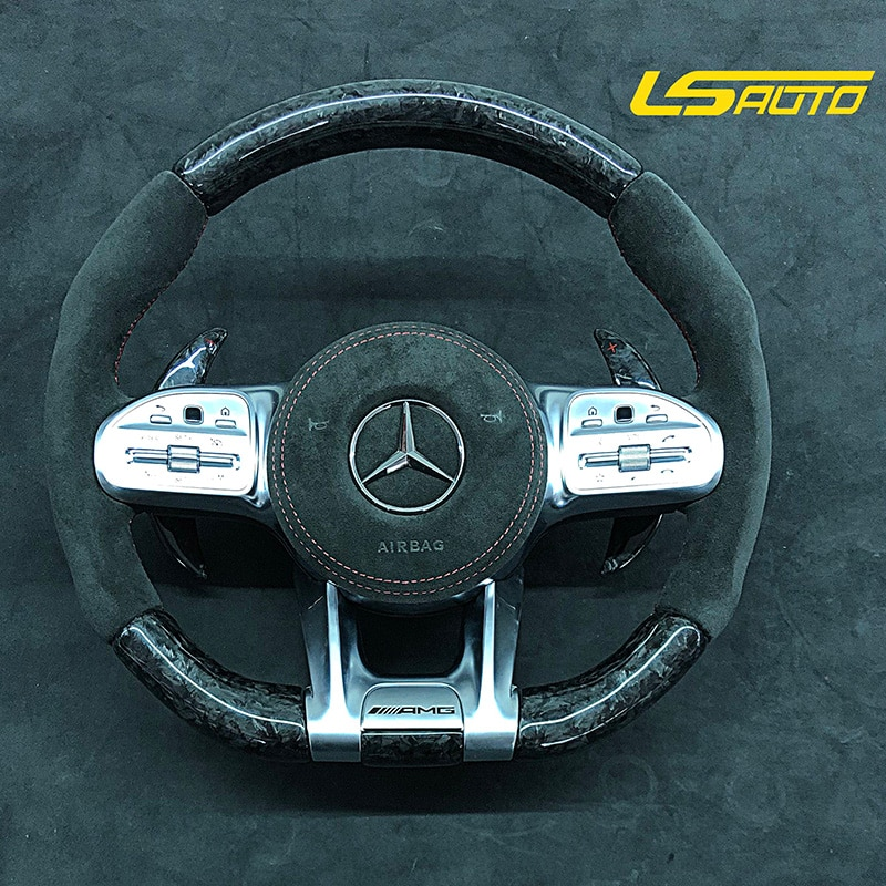 عجلة القيادة الكربونية الحقيقية لمرسيدس بنز AMG سلسلة G-Class G500 G350D G500 G55 GLE GLS W167