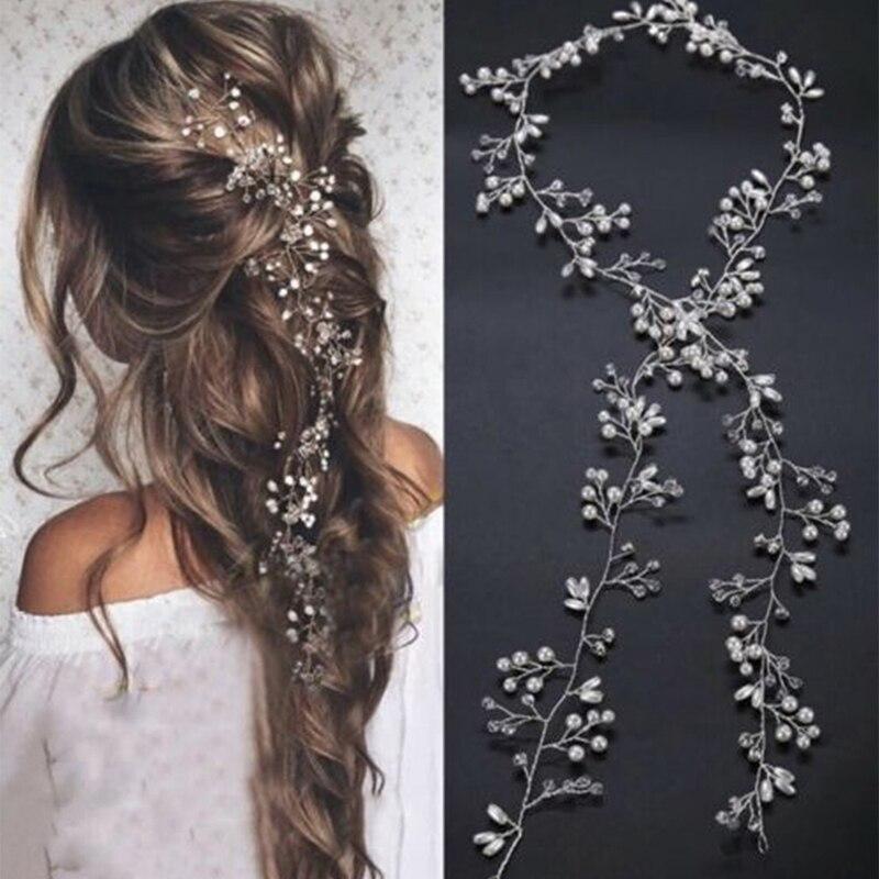 Crystal Pearl Bridal Tiaras Hairbands Hairpins Bridesmaid Diamante Hair Vine Accessories Wedding Jew