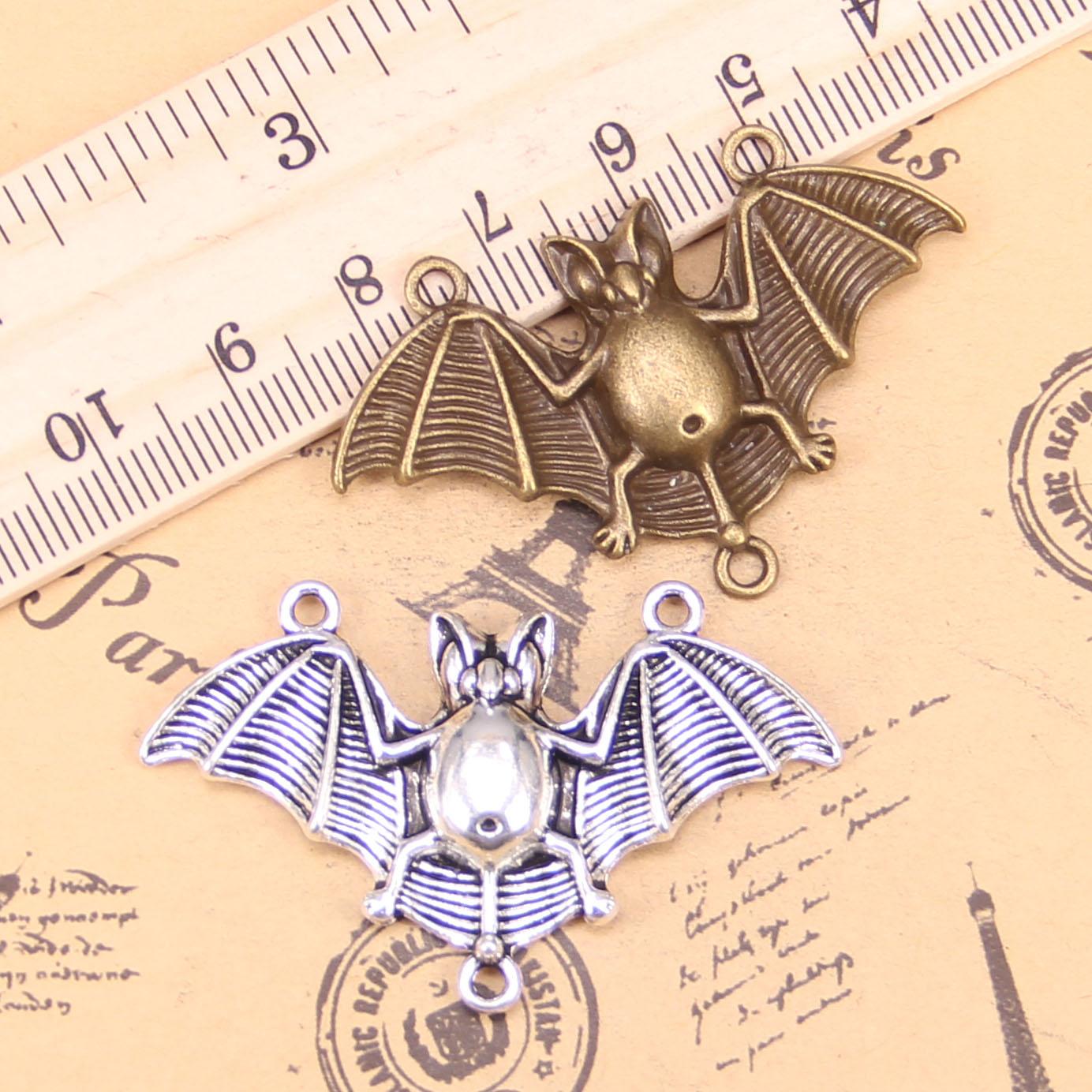 6 pçs encantos bat vampiro drácula conector 29x47mm pingentes antigos, jóias de bronze do vintage, diy para pulseira colar