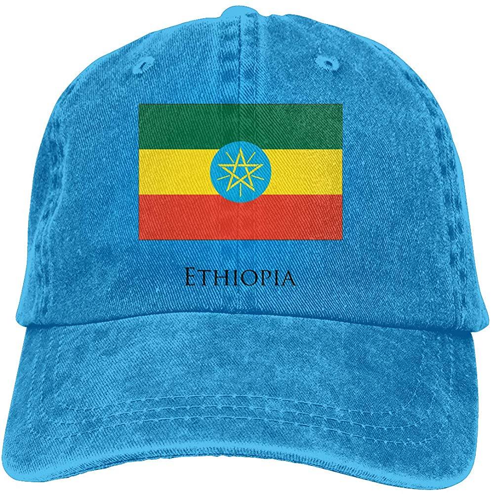 Unisex adultos Vintage gorra de béisbol lavada ajustable papá sombrero-Bandera de Etiopía negro