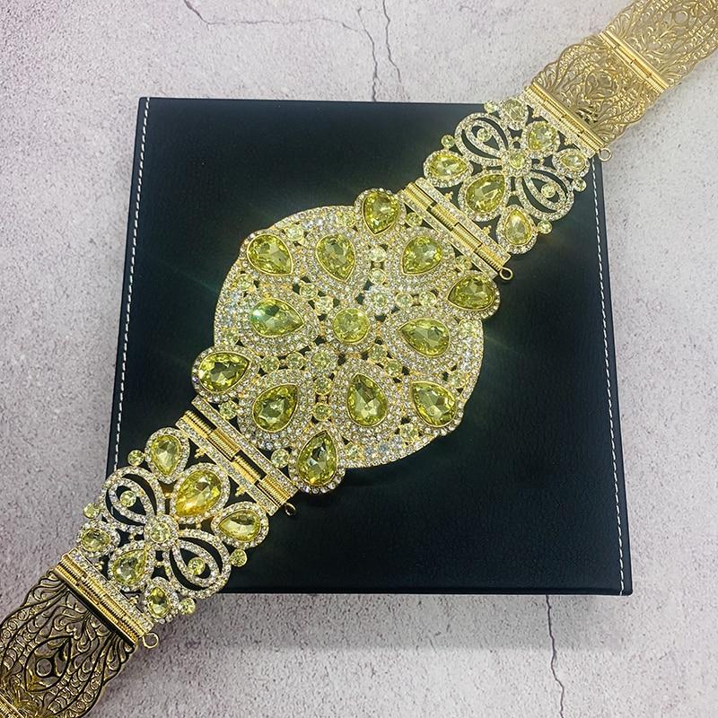حزام قفطان للنساء ، نمط مغربي ، أحجار الراين الكامل ، مخصص ، فستان زفاف ، سلسلة خصر ذهبية قابلة للتعديل ، طول قابل للتعديل