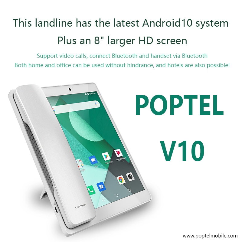 هاتف أرضي ذكي لاسلكي 8 بوصة 2G/16G بلوتوث 4G SIM شبكة فيديوفون Glob Android10 هاتف فيديو هاتف تابلت
