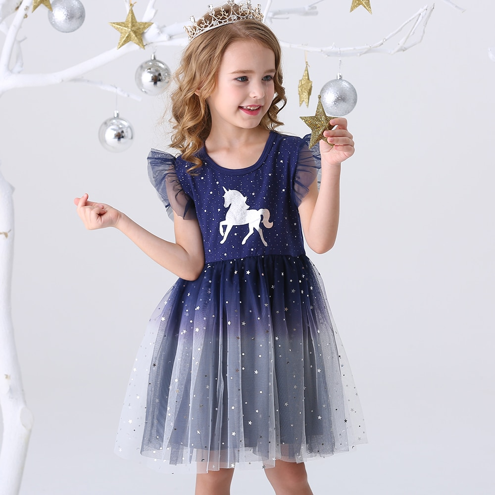 DXTON Girls Clothes 2020 New Summer Princess Dresses Flying Sleeve Kids Dress Unicorn Party Girls Dr