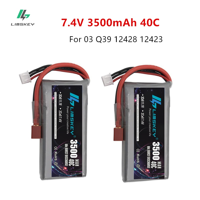 Limskey 2PCS RC Lipo Battery 2S 7.4V 3500mah 40C for Feiyue 03 Q39 Wltoys 12428 12423 1:12 RC Car Ba