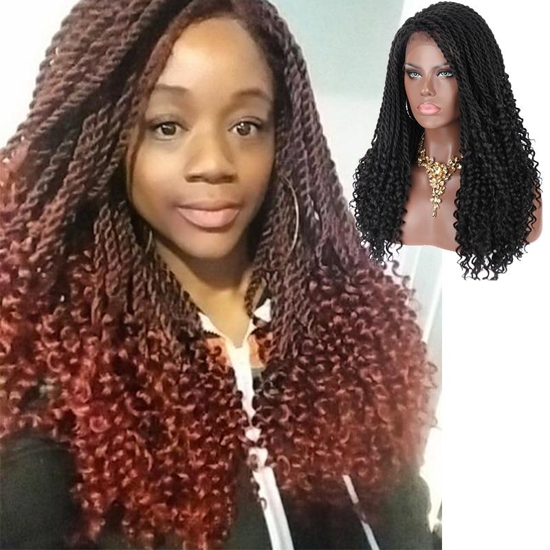 Kalyss 20 дюймов плетеные парики Омбре синтетический парик кружева спереди Твист коса волос парик для черных женщин коробка коса Кружева парик ...