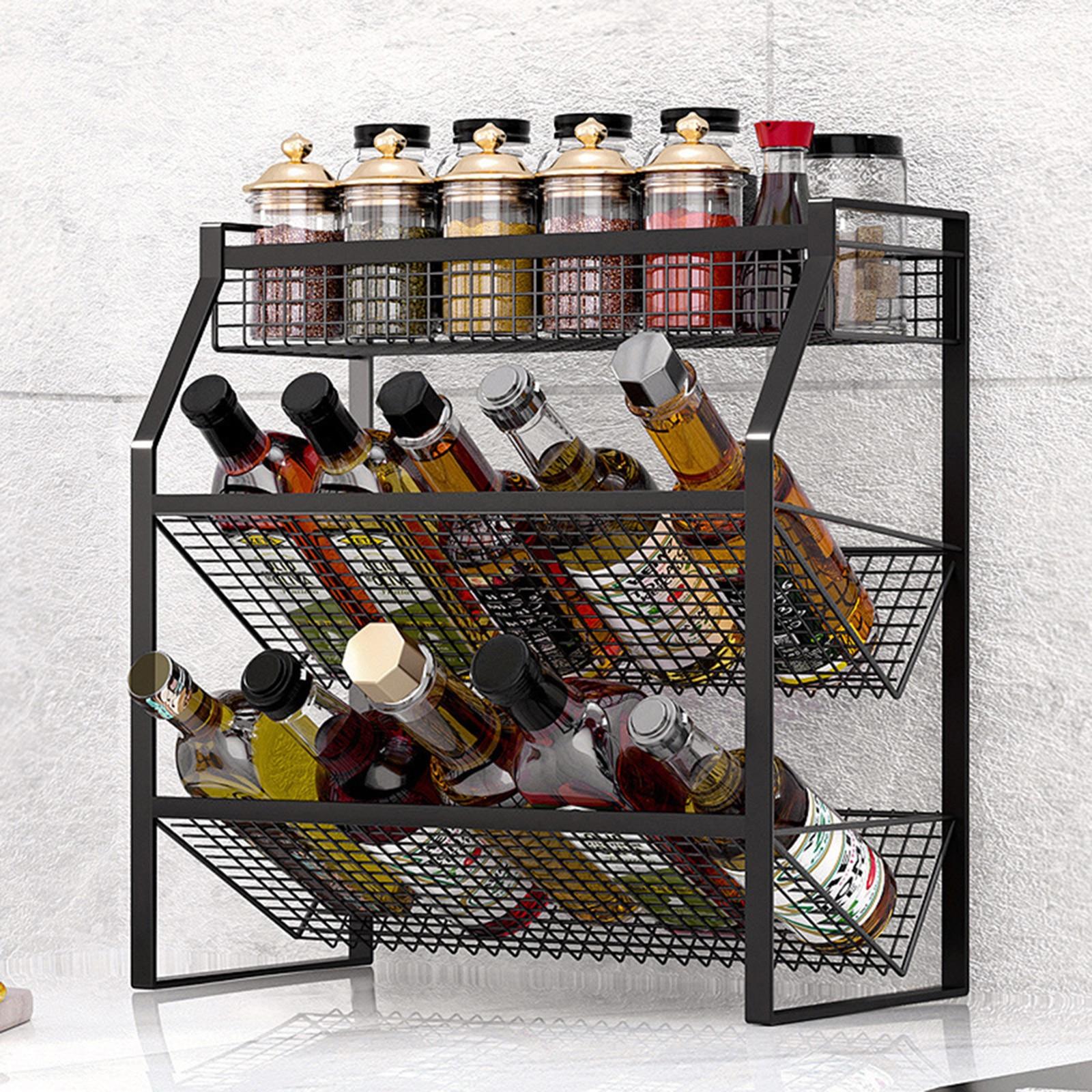 رف تخزين متعدد الأغراض من 3 مستويات ، رف مطبخ قابل للتكديس لتخزين صلصة التوابل