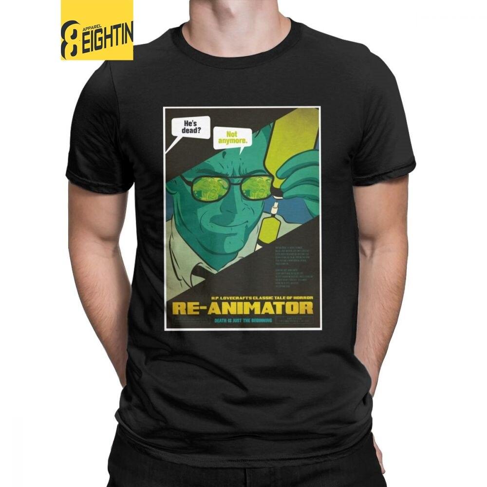 Reanimador para hombre Camiseta cartel de película Vintage de los años 80 cientist Movie Horror Humor Camisetas manga corta cuello redondo Camiseta 100% algodón